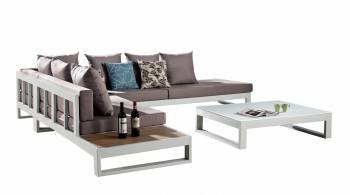 Outdoor Furniture Sets - Outdoor Sofa & Seating Sets - Amber Sectional Sofa Set for 5 With Built-In Side Table