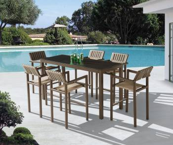 Outdoor Furniture Sets - Outdoor Bar Sets - Amber Bar Set for 6 with Arm Chairs