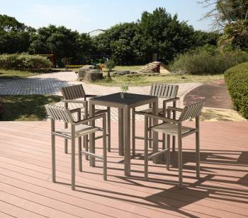 Outdoor Furniture Sets - Outdoor Bar Sets - Amber Bar Set for 4 with Arm Chairs
