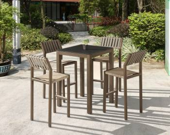 Outdoor Furniture Sets - Outdoor Bar Sets - Amber Bar Set for 4 with Armless Chairs