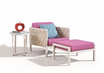 Outdoor Furniture Sets - Outdoor Sofa & Seating Sets - Asthina Club Chair with Ottoman and Side Table