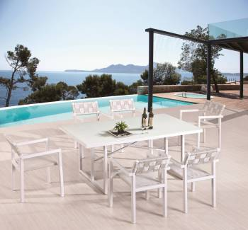 Outdoor  Dining Sets - Outdoor Dining Sets For 6 - Asthina Dining Set For 6 With Arms