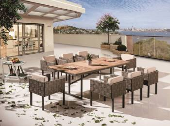 Outdoor Furniture Sets - Outdoor  Dining Sets - Asthina Dining Set For 8 with Side Straps