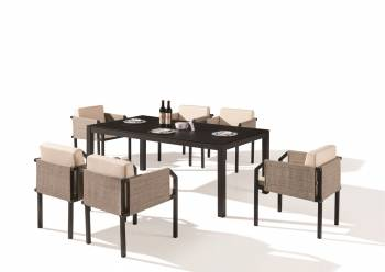 Outdoor Furniture Sets - Outdoor  Dining Sets - Barite Dining Set for 6 with All Chair with Side Fabric