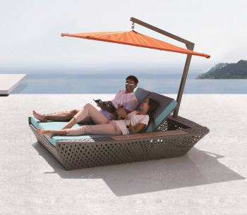 Outdoor Furniture Sets - Outdoor Daybeds - Verona Double Beach Bed With Umbrella