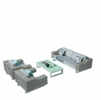 Outdoor Furniture Sets - Outdoor Sofa & Seating Sets - Provence 5 Seater Sofa Set with 2 Club Chairs