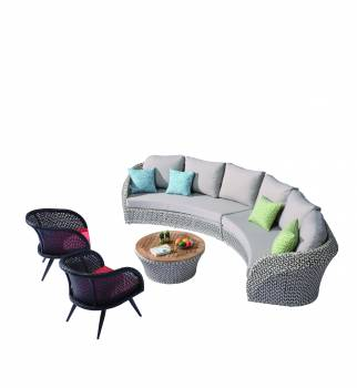 Outdoor Furniture Sets - Evian Curved 6 Seater Sofa Set with 2 Chairs