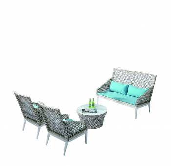 Outdoor Furniture Sets - Outdoor Sofa & Seating Sets - Provence Tall Loveseat Sofa Set for 4 with 2 Highback chairs