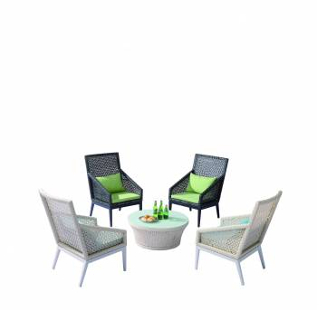 Shop by Category  - Outdoor Seating Sets - Provence Set of 4 Tall Highback Chairs with Coffee Table