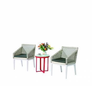 Shop by Category  - Outdoor Seating Sets - Provence Set of 2 Chairs with woven sides with SideTable