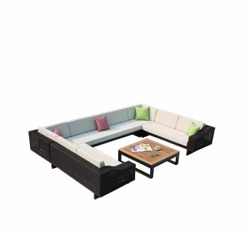 Outdoor Furniture Sets - Outdoor Sofa & Seating Sets - Provence 8 Seater U Shaped Sofa Set with square coffee table