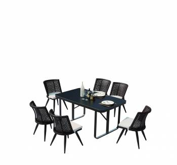 Outdoor  Dining Sets - Outdoor Dining Sets For 6 - Evian Small Dining Set for 6