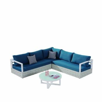 Shop By Collection and Style - Edge Collection - Edge Sectional Sofa Set for 5 with Round Coffee Table