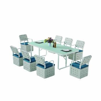 Shop By Collection and Style - Edge Collection - Edge Dining Set for 8 with woven sides