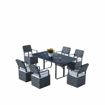 Shop By Collection and Style - Edge Collection - Edge Dining Set for 6 with woven sides