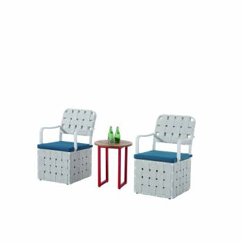 Edge Seating set for 2 with woven sides chair