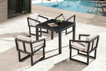 Outdoor Furniture Sets - Outdoor  Dining Sets - Amber Dining Set For 4 With Arms And Cushions