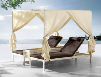 Outdoor Furniture Sets - Outdoor Chaise Lounges - Taco Double Chaise Lounge With Canopy