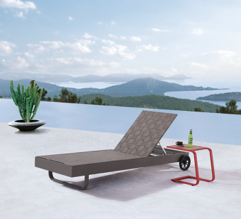 Outdoor Furniture Sets - Outdoor Chaise Lounges - Edge Chaise Lounge with Wheels