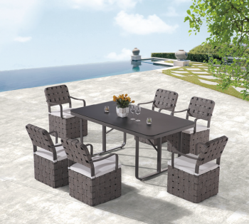 Outdoor  Dining Sets - Outdoor Dining Sets For 6 - Edge Dining Set for 6 with woven sides