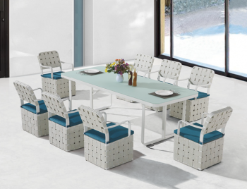 Edge Dining Set for 8 with woven sides