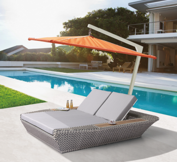Outdoor Furniture Sets - Outdoor Chaise Lounges - Evian Double Chaise Lounge with Umbrella Canopy