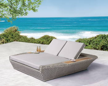Outdoor Furniture Sets - Outdoor Daybeds - Evian Double Chaise Lounge