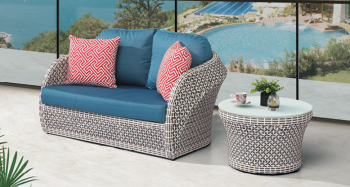 Outdoor Furniture Sets - Outdoor Sofa & Seating Sets - Evian Loveseat Sofa for 2