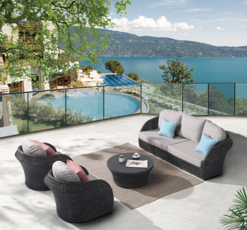 Outdoor Furniture Sets - Outdoor Sofa & Seating Sets - Evian Rounded 5 Seater Sofa Set with 2 Club Chairs