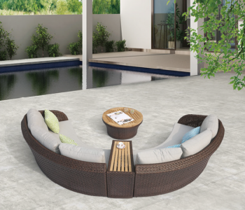 Evian Curved 4 Seater Sofa Set with built-in Side Table - Image 3