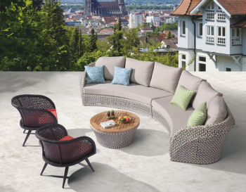 Outdoor Furniture Sets - Outdoor Sofa & Seating Sets - Evian Curved 6 Seater Sofa Set with 2 Chairs