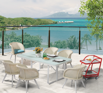 Outdoor Furniture Sets - Outdoor  Dining Sets - Evian Dining Set for 6