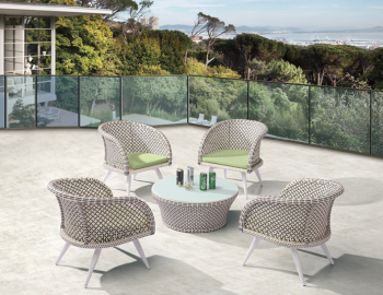 Individual Pieces - Dining Chairs - Evian Set of 4 Chairs with Woven Sides with Coffee table