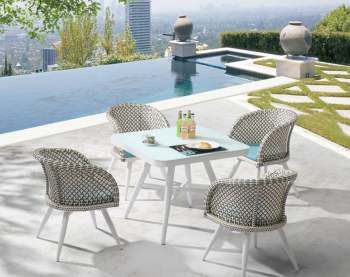 Outdoor Furniture Sets - Outdoor  Dining Sets - Evian Square Dining Set for 4 with Woven Sides