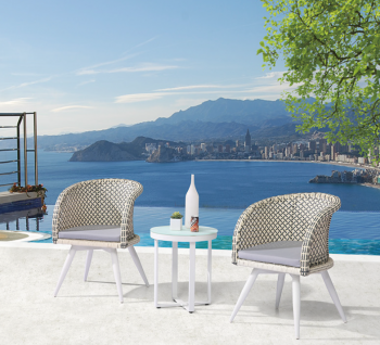 Shop By Collection and Style - Evian Collection - Evian Set of 2 Chairs with Woven Sides with Side Table