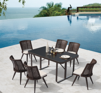 Outdoor  Dining Sets - Outdoor Dining Sets For 6 - Evian Small Armless Dining Set for 6