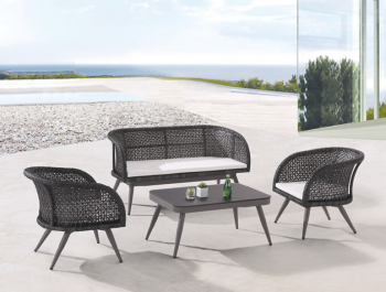 Outdoor Furniture Sets - Outdoor Sofa & Seating Sets - Evian Loveseat Sofa Set for 4 with two Chairs