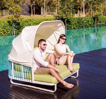 Outdoor Furniture Sets - Outdoor Daybeds - Hyacinth Daybed with Canopy