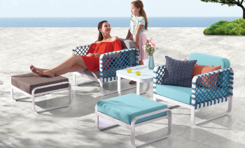 Outdoor Furniture Sets - Outdoor Sofa & Seating Sets - Dresdon Club Chair Set for 2 with Ottomans and Side Table