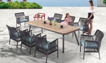 Shop by Category  - Outdoor Dining Sets - Venice Dining Set for 8 with Woven Sides