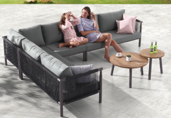 Outdoor Furniture Sets - Outdoor Sofa & Seating Sets - Venice L Shaped 6 Seater Sectional Sofa