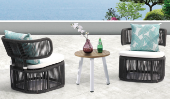 Shop By Collection - Venice Collection - Venice Woven Lounge Chair set for 2 with side table