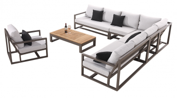 Shop By Collection and Style - Tribeca Collection - Tribeca 8 Seater L Shaped Modular Sectional with Club Chair
