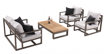 Shop By Collection - Tribeca Collection - Tribeca 4 Seater Loveseat Sofa Set with 2 Club Chairs and Coffee Table