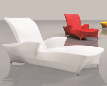 Outdoor Furniture Sets - Outdoor Chaise Lounges - Babmar - Tulip Chaise with Arms