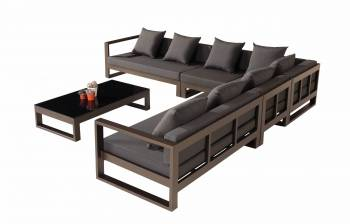 Outdoor Furniture Sets - Outdoor Sofa & Seating Sets -  Amber Sectional Sofa Set for 6 with chair and coffee table