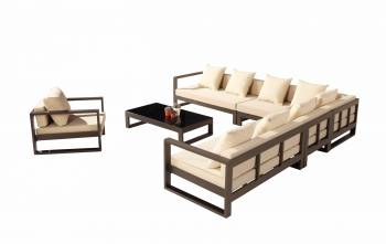 Shop By Category - Outdoor Seating Sets - Amber Sectional Sofa Set for 8 with Club Chair