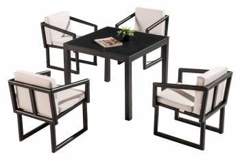 Shop by Category  - Outdoor Dining Sets - Amber Dining Set For 4 With Arms And Cushions