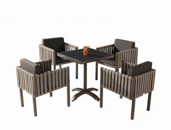 Shop by Category  - Outdoor Dining Sets - Amber Dining Set For 4 with Side Straps