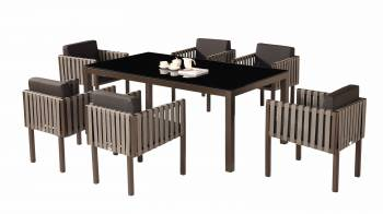 Shop by Category  - Outdoor Dining Sets - Amber Dining Set For 6 with Side Straps